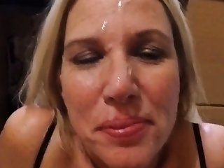 Adding the fourth cum to her face for the night